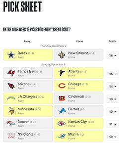 NFL Confidence Picksheet